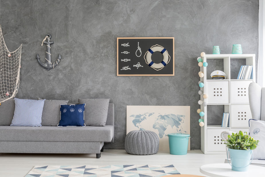 Nautical Grey and Blue Living Room