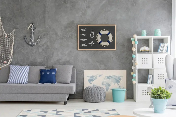 Nautical Grey and Blue Living Room