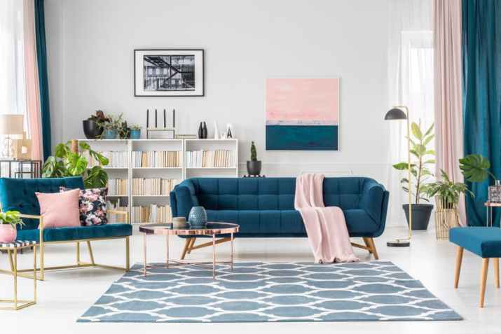 Mid Century Blue Couch Set in A Living Room