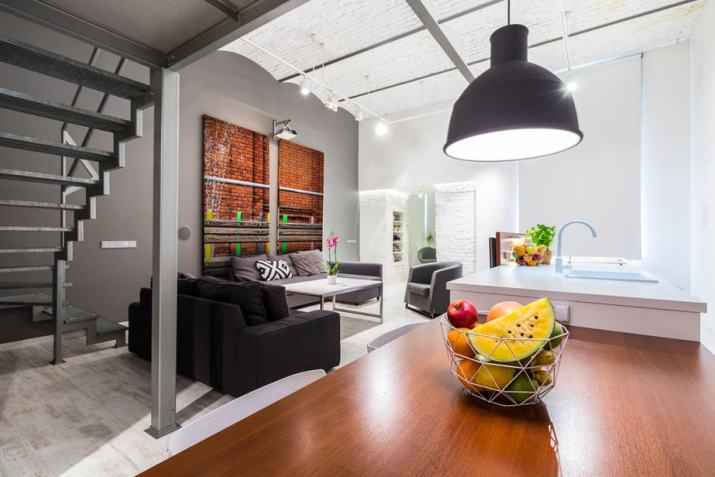 Industrial-Inspired Living Room Dining Room Combo