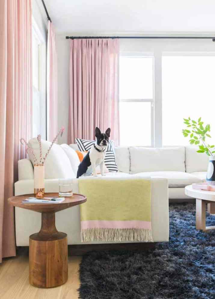 Pink Pastel Living Room Curtain
