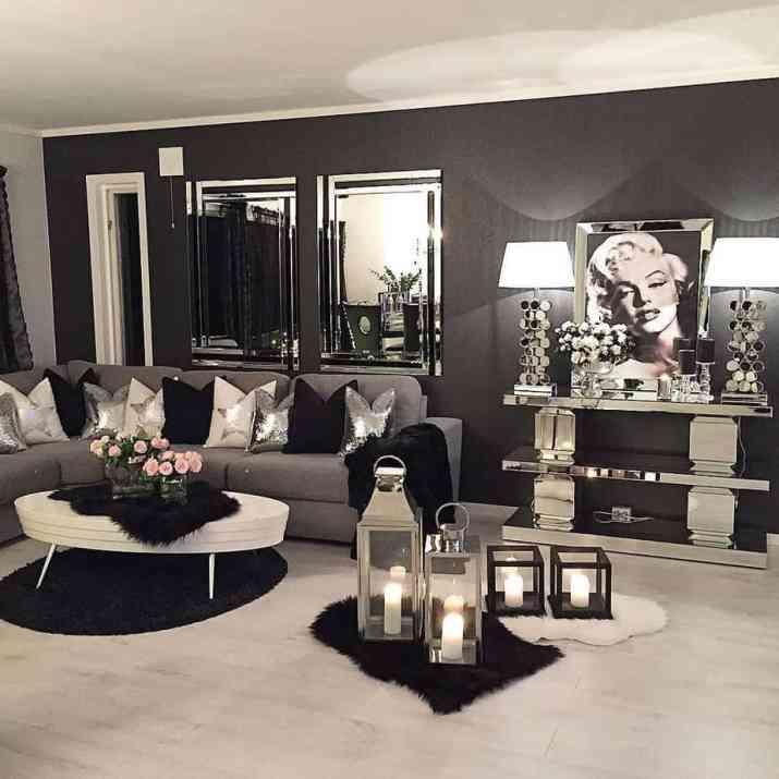 Black-and-White Glam Living Room