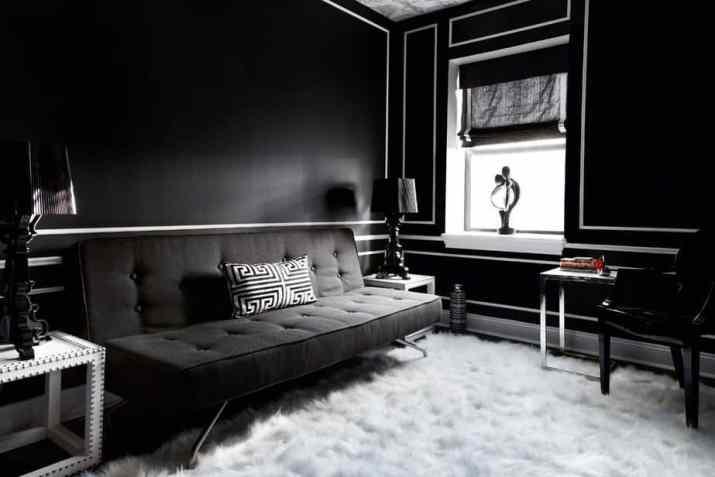 Dark, Elegant Black Living Room