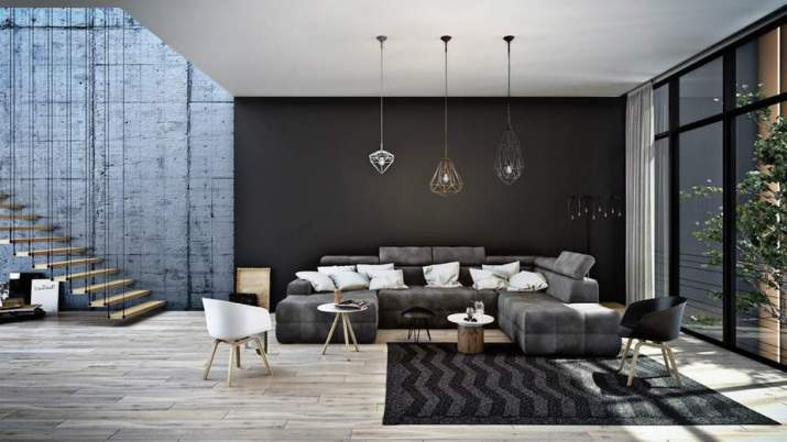 Industrial Accent Wall in Modern Living Space