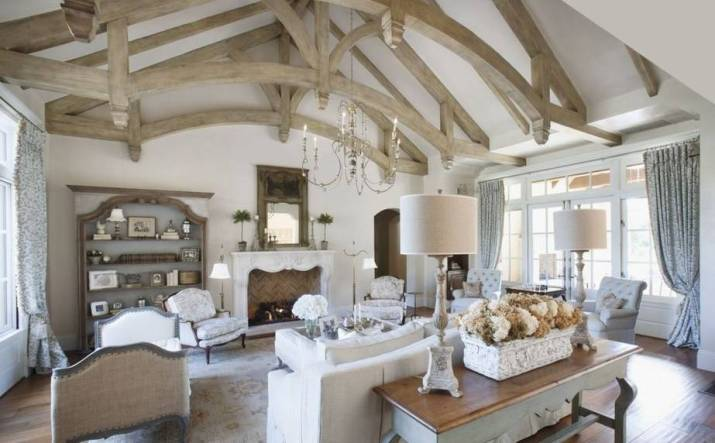 Graceful French Country Living Room.