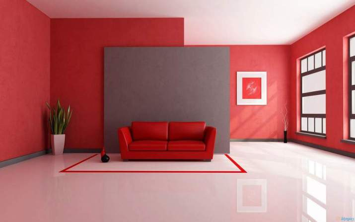 Open Space Red Living Room