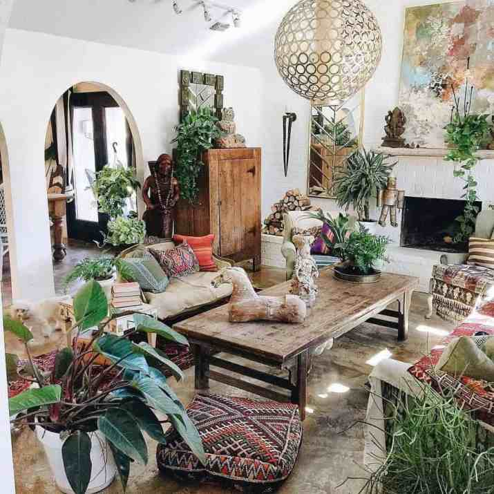 White-Painted Ordinary Fireplace in Bohemian Living Room