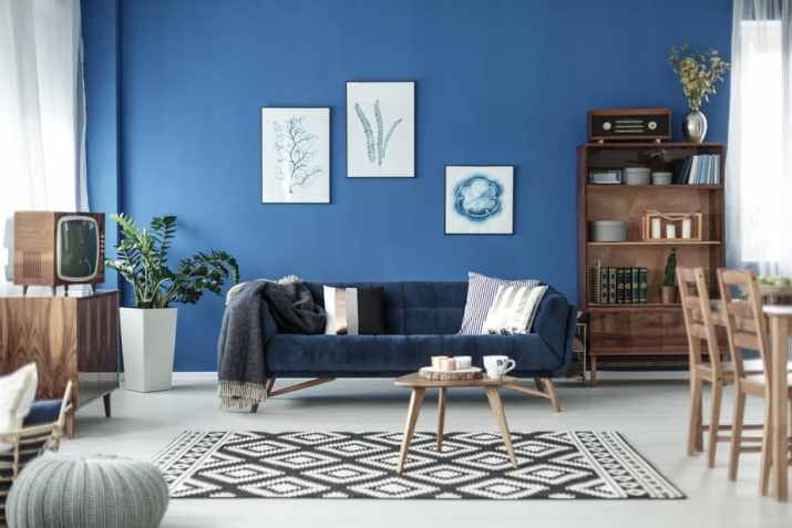 Dark Blue Couch in Mid Century Living Room