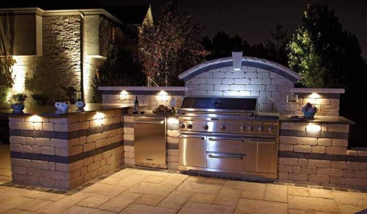 Dark Outdoor Kitchen Deck