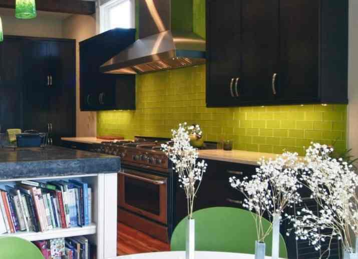Dramatic, Yellow Kitchen Backsplash