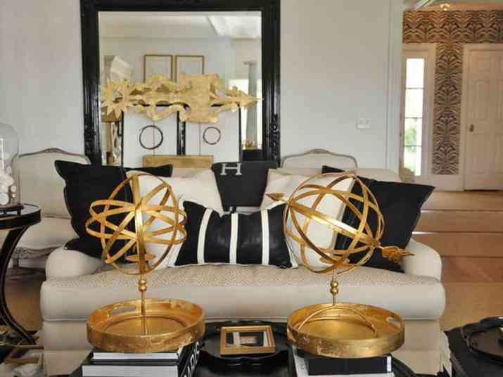 10 Black And Gold Living Room Ideas, Black White And Gold Living Room