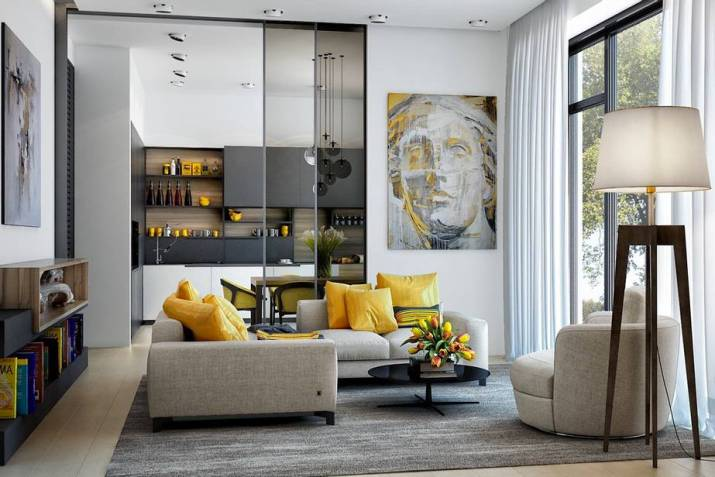 Free Feeling Grey and Yellow Living Room