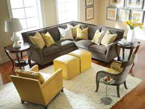 Graceful Grey and Yellow Living Room