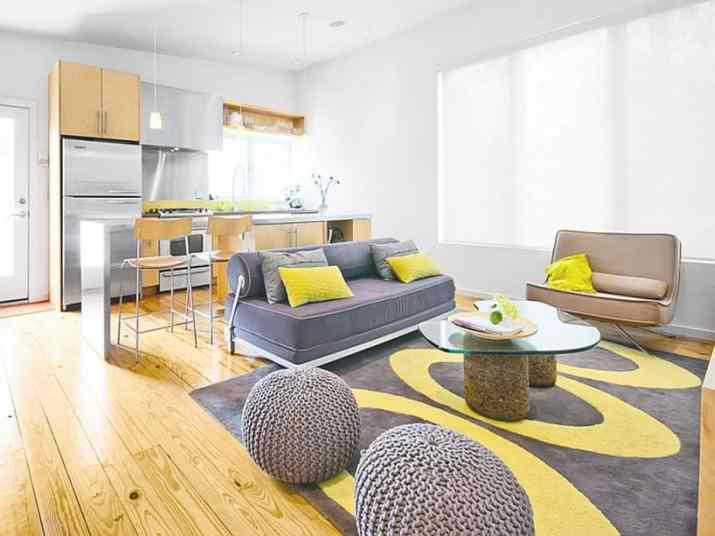 Homey Grey and Yellow Living Area
