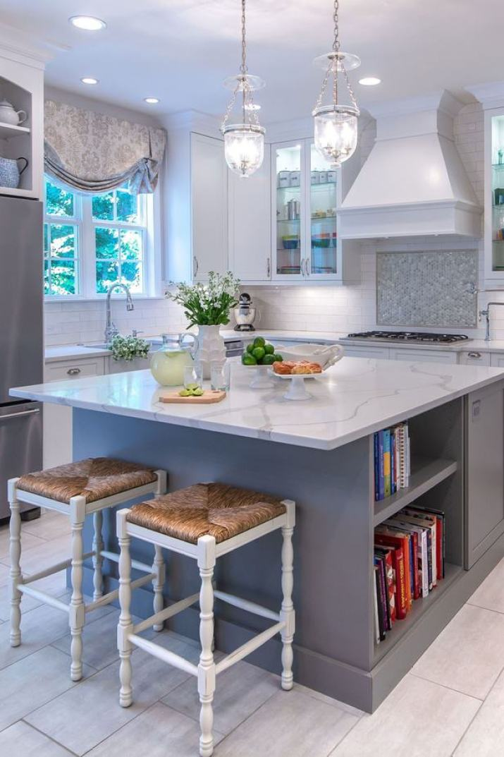 Soft Kitchen Island with Bookcase Storage
