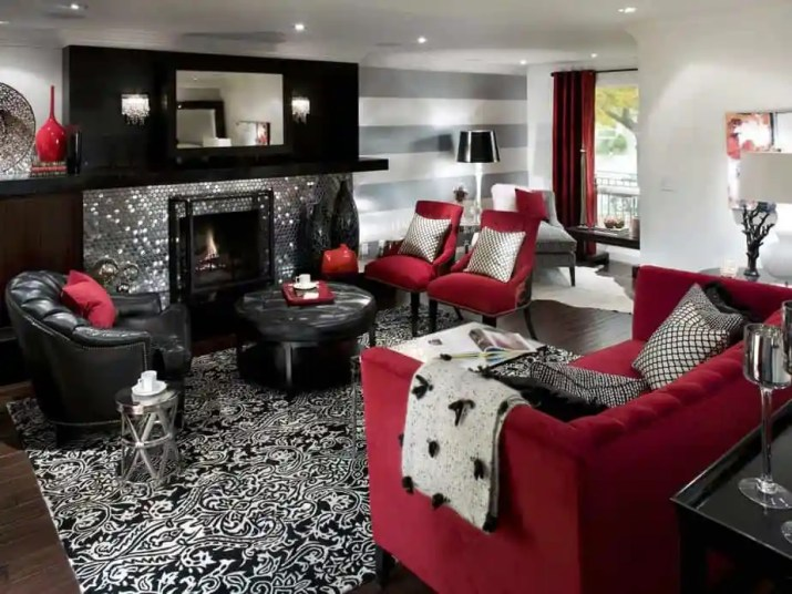 Riveting Red and Black Living Room