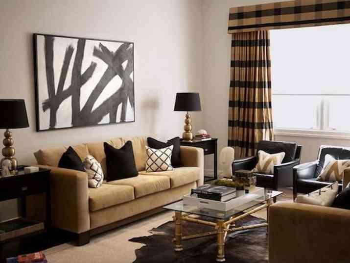 Subtle Black and Gold Living Room