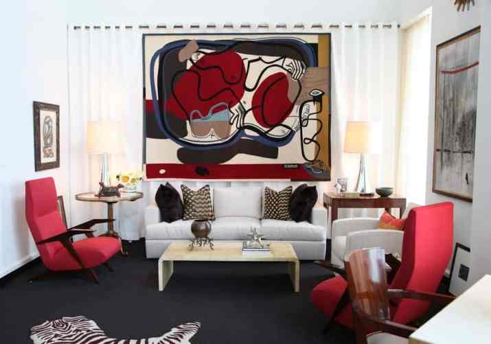 Tasteful Red and Black Living Room