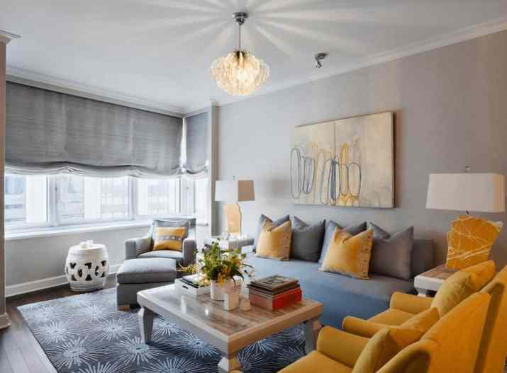 Wonderful Grey and Yellow Living Room