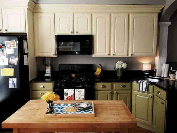 Fine Two Toned Kitchen Cabinet