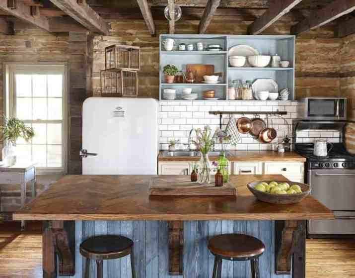 Seamless Open Cabinet for Rustic Kitchen