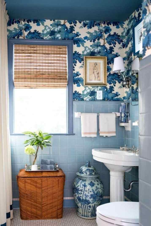 Bamboo Curtain for Blue Bathroom
