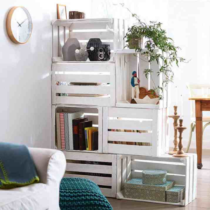Reclaimed Boxes as Room Divider