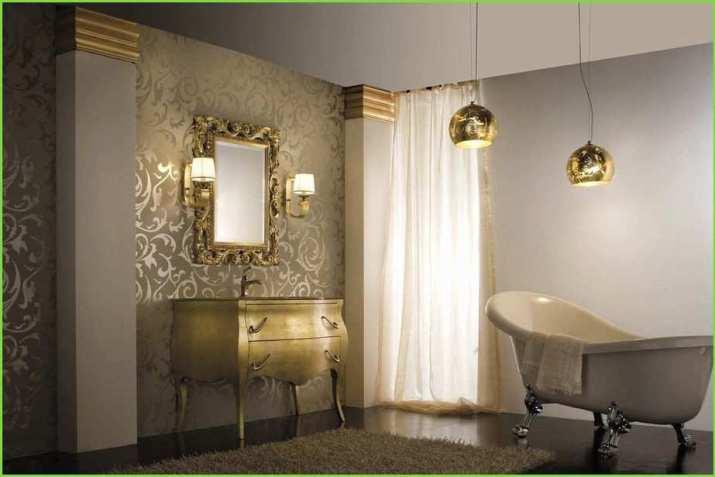 Dramatic Grey Bathroom with Gold