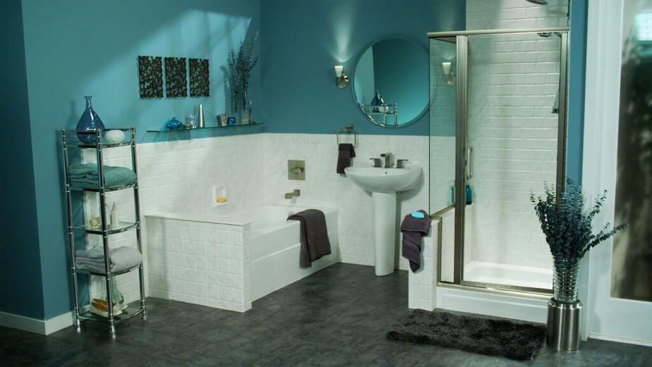 Dramatic Teal Bathroom