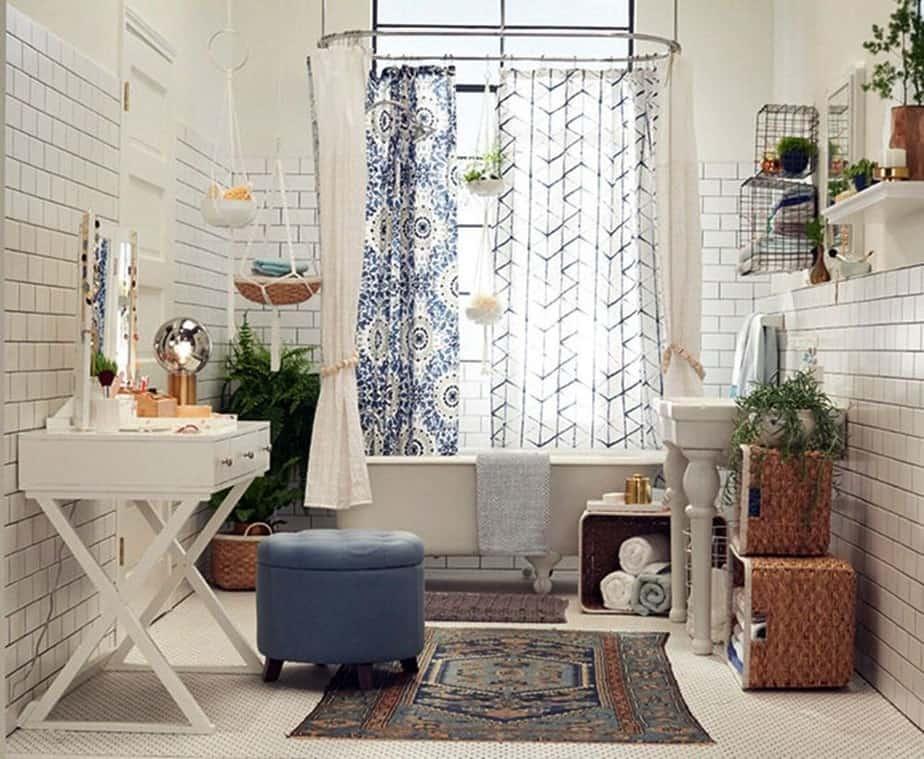 Inverted Basket as Bathroom Shelf