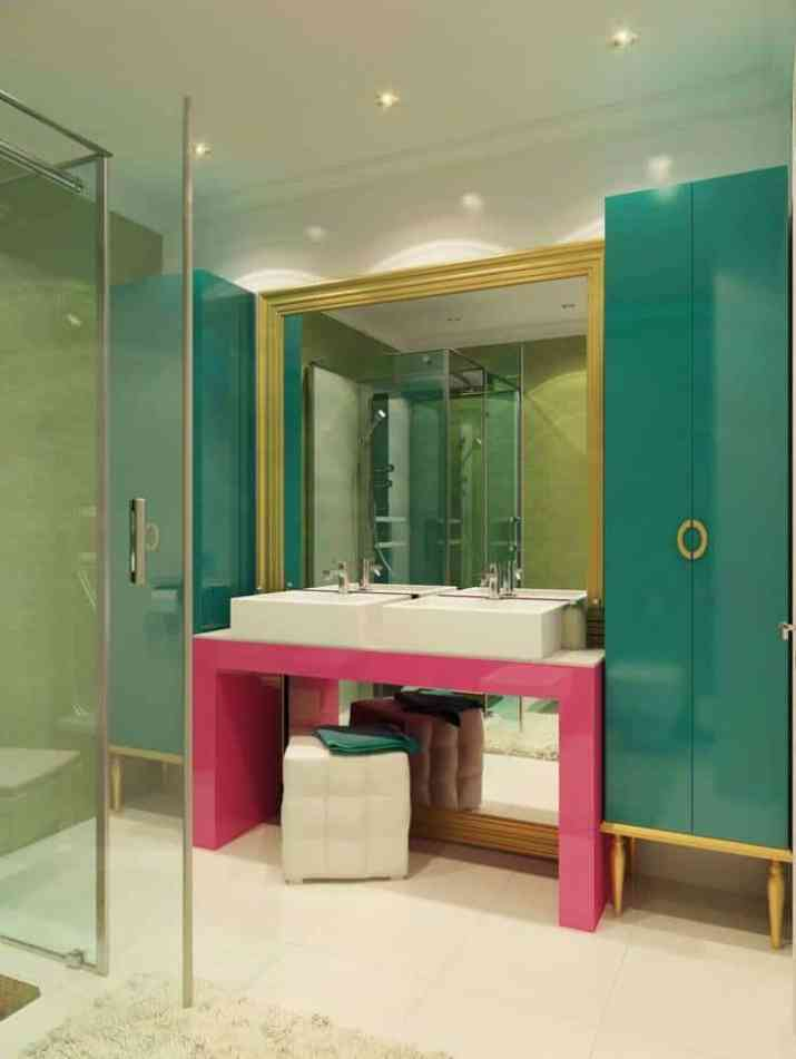 Minimalist Colorful Bathroom