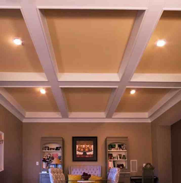 Painted coffered ceiling