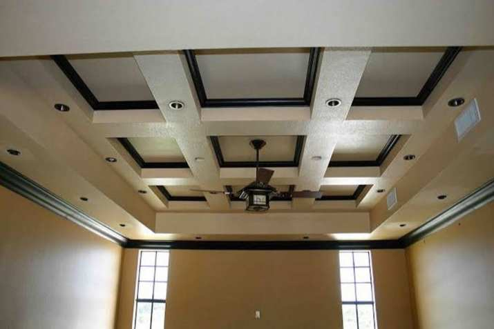 Wood coffered ceiling