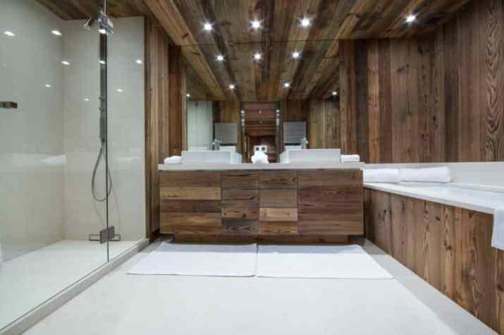 Wood Ceiling Ideas for Bathroom with dark mood
