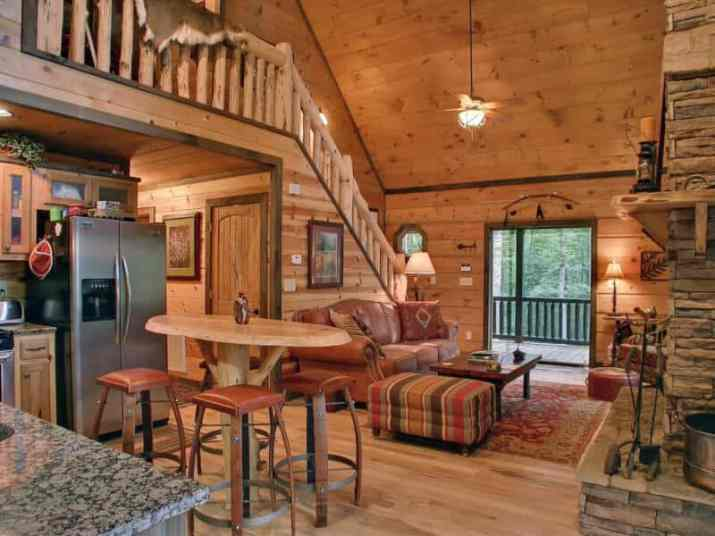 Cabin Wood Ceiling Ideas with staircase