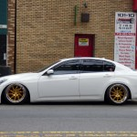 Infiniti G37 Sedan White Ag Agwheels F121 Polished Gold Bullion With Chrome Lip 3