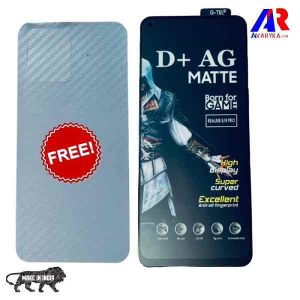 Realme 8/Realme 8 Pro Matte Tempered Glass and Back Skin Combo Free For GAMERS