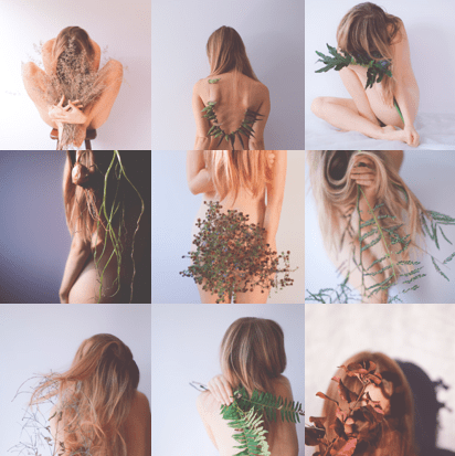 nide portraits with plants