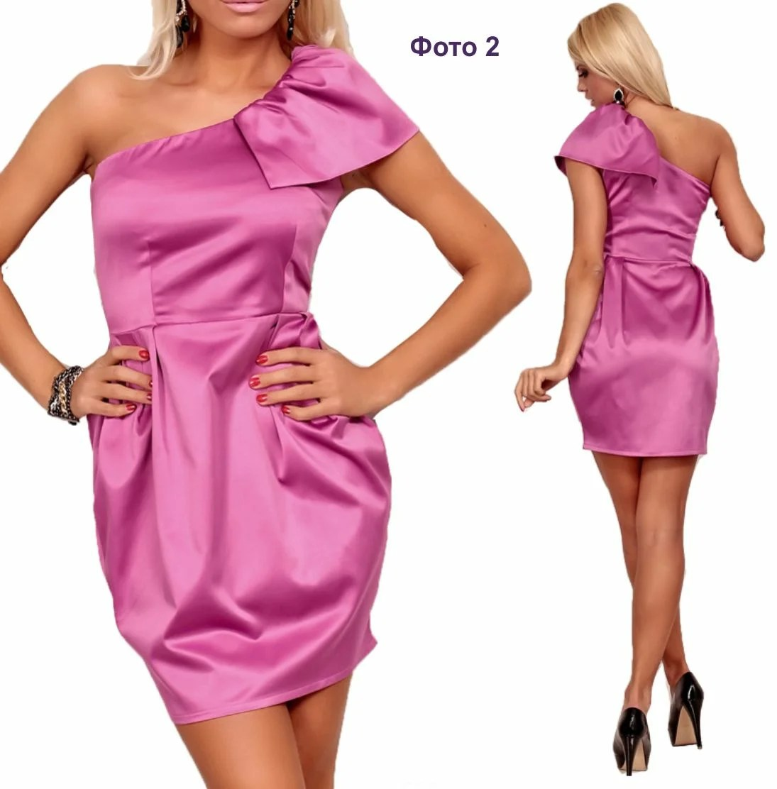 Stock Foto Stitched straight dress on one shoulder with shoal
