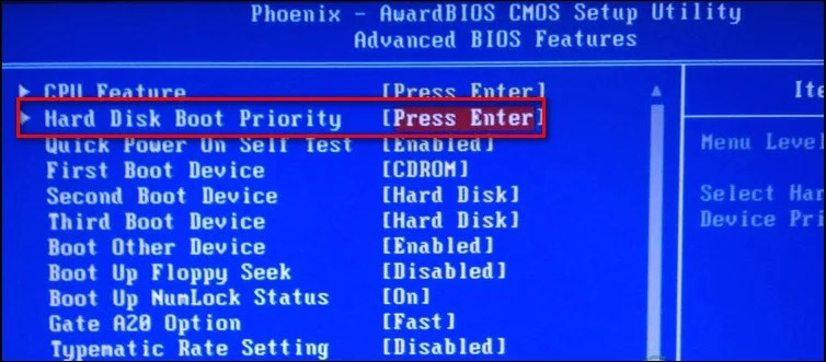 Change the order of devices in Hard Disk Boot Priority