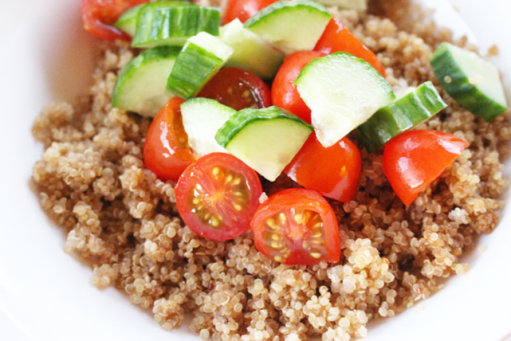 Quinoa with Cucumbers and Tomatoes