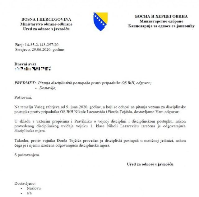 "Odgovor Ministarstva odbrane na upit ""Dnevnog avaza"" - Avaz, Dnevni avaz, avaz.ba"