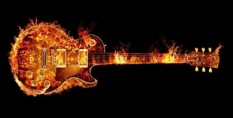 gibson guitar on fire