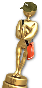 Picture of an Oakland Indie Award, resembling an Oscar wearing a cap that says 510 and a shoulder bag