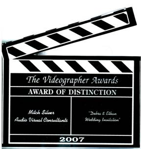 picture of videographers award with Mitch Silver's name engraved