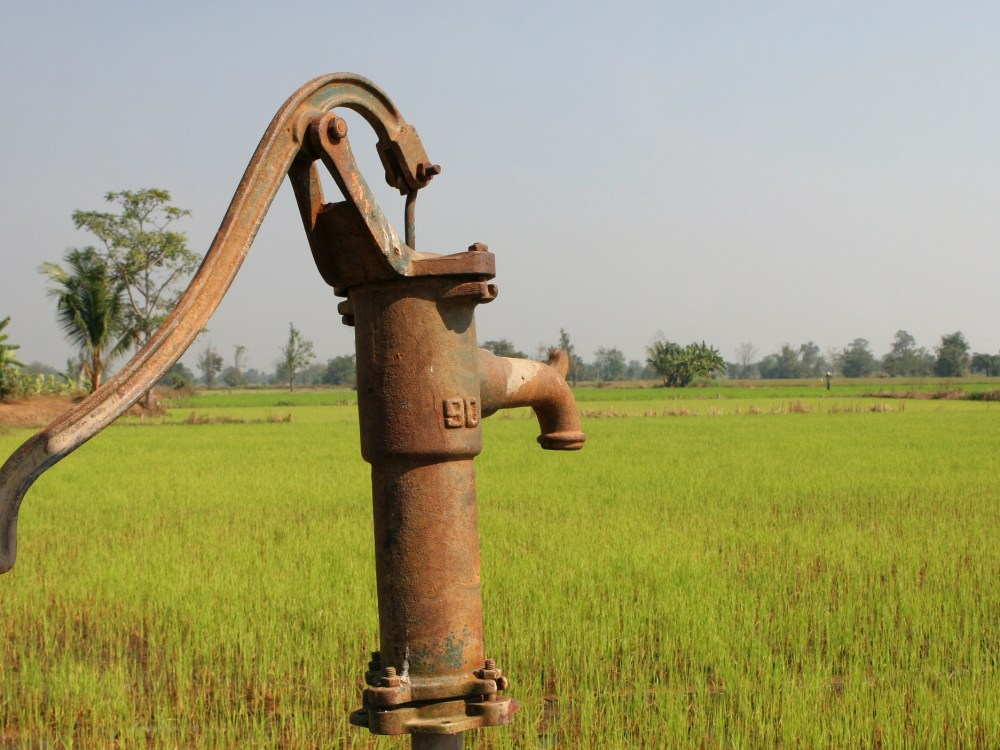 A hand-cranked pump in a rice field