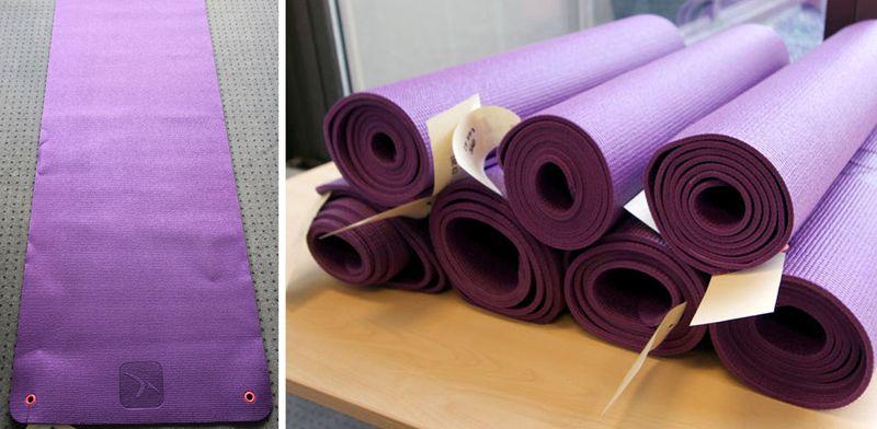 tapis de yoga de marque decathlon de couleur violette 180 x 60 cm 8 unites vendu a lunite avec facu