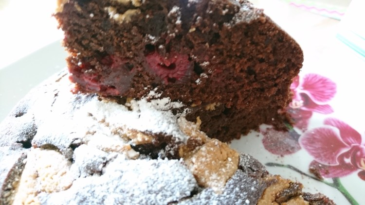 inside Chocolate Browie Cake with Raspberries and Peanut Butter