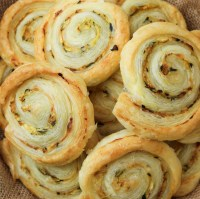 vegan courgette and smoked paprika pastry rolls close close up