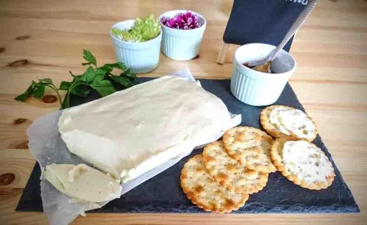 close up vegan stracchino cheese